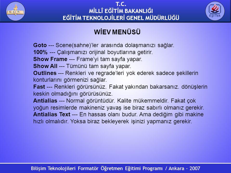 Bilişim Teknolojileri Formatör Öğretmen Eğitimi Programı / Ankara - 2007 T.C. MİLLÎ EĞİTİM BAKANLIĞI EĞİTİM TEKNOLOJİLERİ GENEL MÜDÜRLÜĞÜ Goto --- Sce