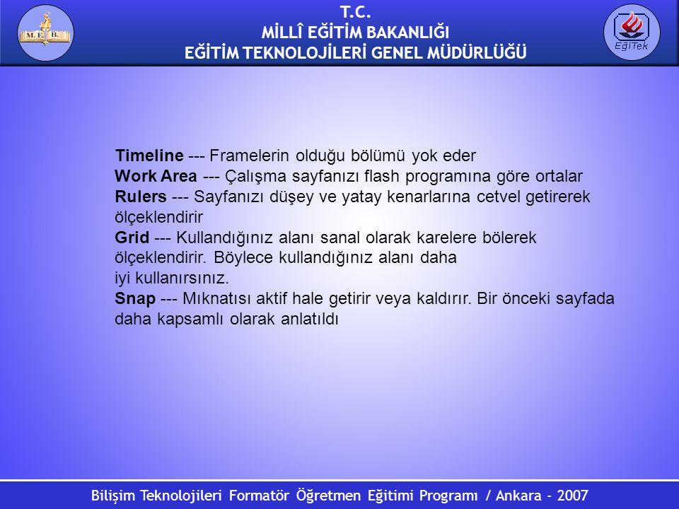 Bilişim Teknolojileri Formatör Öğretmen Eğitimi Programı / Ankara - 2007 T.C. MİLLÎ EĞİTİM BAKANLIĞI EĞİTİM TEKNOLOJİLERİ GENEL MÜDÜRLÜĞÜ Timeline ---