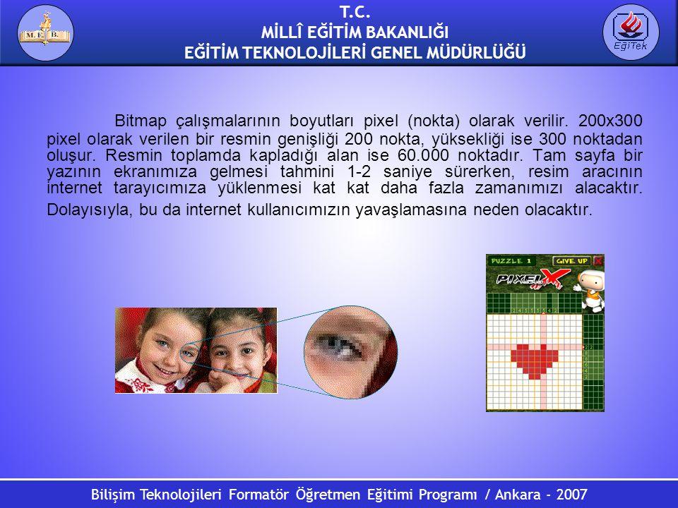 Bilişim Teknolojileri Formatör Öğretmen Eğitimi Programı / Ankara - 2007 T.C. MİLLÎ EĞİTİM BAKANLIĞI EĞİTİM TEKNOLOJİLERİ GENEL MÜDÜRLÜĞÜ Bitmap çalış