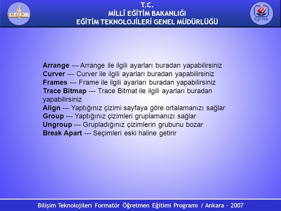 Bilişim Teknolojileri Formatör Öğretmen Eğitimi Programı / Ankara - 2007 T.C. MİLLÎ EĞİTİM BAKANLIĞI EĞİTİM TEKNOLOJİLERİ GENEL MÜDÜRLÜĞÜ Arrange ---
