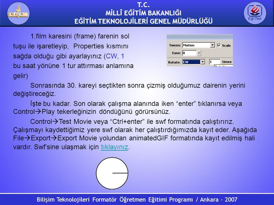 Bilişim Teknolojileri Formatör Öğretmen Eğitimi Programı / Ankara - 2007 T.C. MİLLÎ EĞİTİM BAKANLIĞI EĞİTİM TEKNOLOJİLERİ GENEL MÜDÜRLÜĞÜ 1.film kares