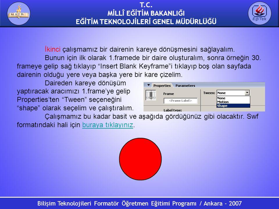 Bilişim Teknolojileri Formatör Öğretmen Eğitimi Programı / Ankara - 2007 T.C. MİLLÎ EĞİTİM BAKANLIĞI EĞİTİM TEKNOLOJİLERİ GENEL MÜDÜRLÜĞÜ İkinci çalış