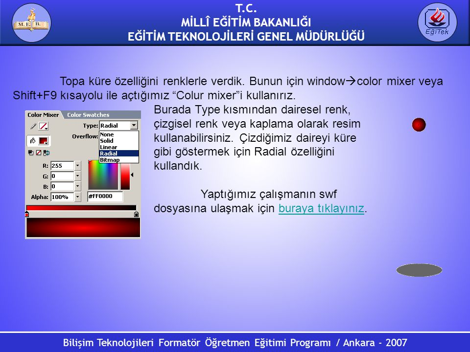 Bilişim Teknolojileri Formatör Öğretmen Eğitimi Programı / Ankara - 2007 T.C. MİLLÎ EĞİTİM BAKANLIĞI EĞİTİM TEKNOLOJİLERİ GENEL MÜDÜRLÜĞÜ Topa küre öz