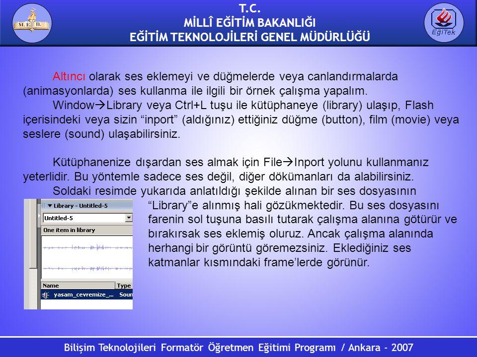 Bilişim Teknolojileri Formatör Öğretmen Eğitimi Programı / Ankara - 2007 T.C. MİLLÎ EĞİTİM BAKANLIĞI EĞİTİM TEKNOLOJİLERİ GENEL MÜDÜRLÜĞÜ Altıncı olar