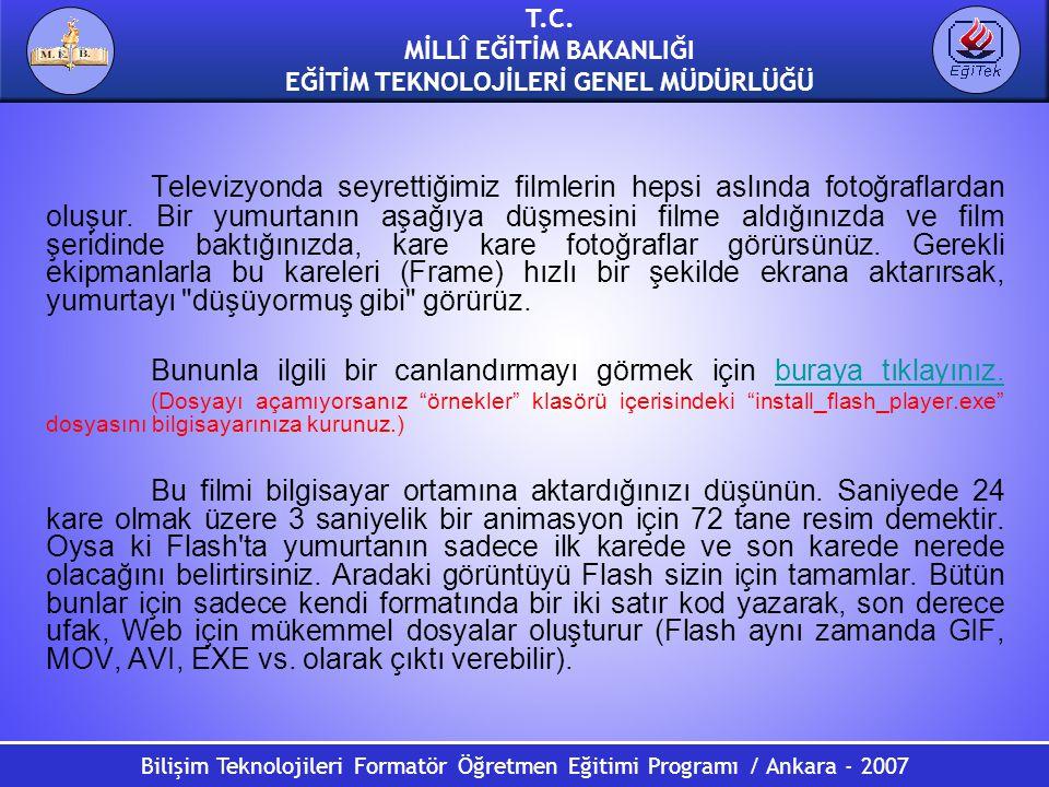 Bilişim Teknolojileri Formatör Öğretmen Eğitimi Programı / Ankara - 2007 T.C. MİLLÎ EĞİTİM BAKANLIĞI EĞİTİM TEKNOLOJİLERİ GENEL MÜDÜRLÜĞÜ Televizyonda