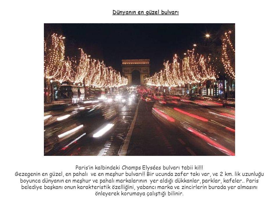 Dünyanın en güzel bulvarı Paris'in kalbindeki Champs Elysées bulvarı tabii ki!!! Gezegenin en güzel, en pahalı ve en meşhur bulvarı!! Bir ucunda zafer