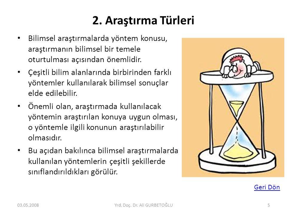2. Araştırma Türleri • Bilimsel araştırmalarda yöntem konusu, araştırmanın bilimsel bir temele oturtulması açısından önemlidir. • Çeşitli bilim alanla