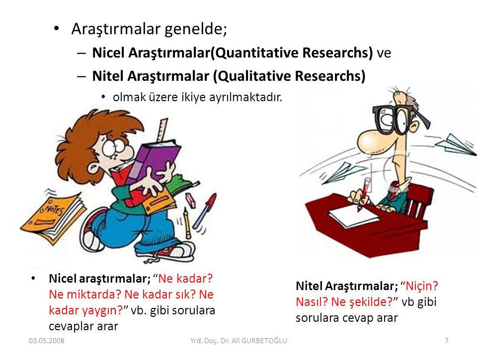• Araştırmalar genelde; – Nicel Araştırmalar(Quantitative Researchs) ve – Nitel Araştırmalar (Qualitative Researchs) • olmak üzere ikiye ayrılmaktadır
