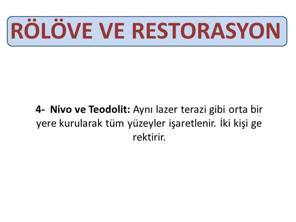 RÖLÖVE VE RESTORASYON 4- Nivo ve Teodolit: Aynı lazer terazi gibi orta bir yere kurularak tüm yüzeyler işaretlenir.