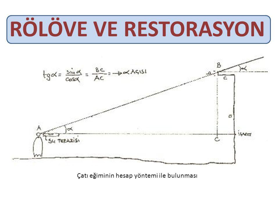 RÖLÖVE VE RESTORASYON Çatı eğiminin hesap yöntemi ile bulunması