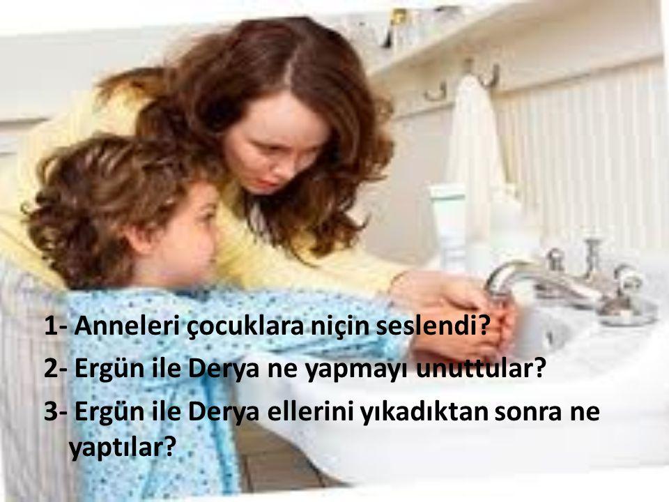 1- Anneleri çocuklara niçin seslendi? 2- Ergün ile Derya ne yapmayı unuttular? 3- Ergün ile Derya ellerini yıkadıktan sonra ne yaptılar?