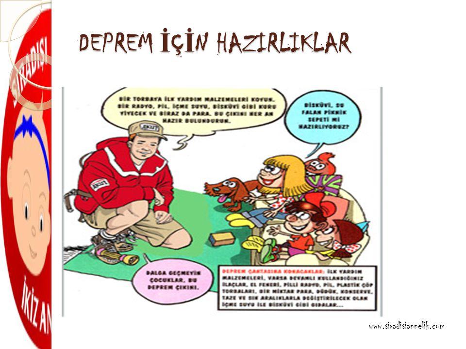 DEPREM İ Ç İ N HAZIRLIKLAR www.siradisiannelik.com