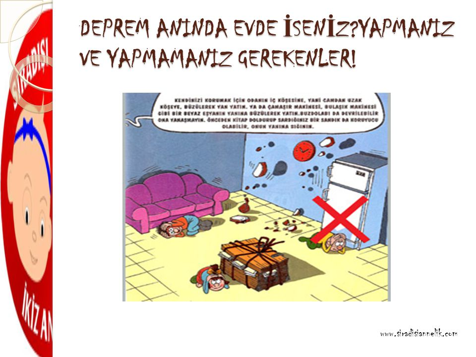DEPREM ANINDA EVDE İ SEN İ Z YAPMANIZ VE YAPMAMANIZ GEREKENLER! www.siradisiannelik.com