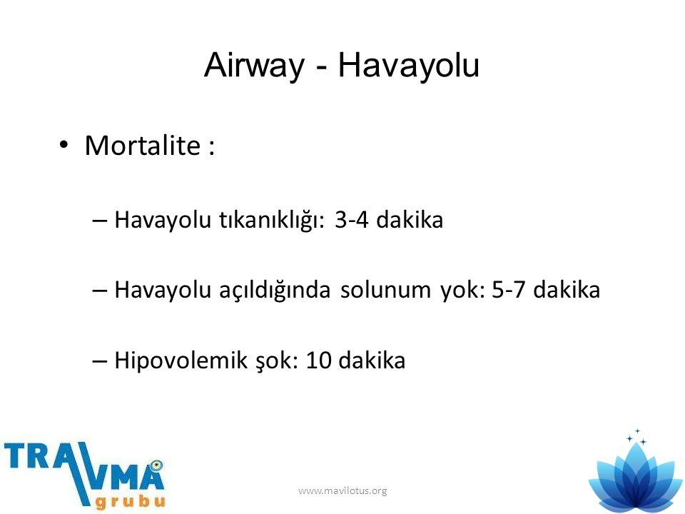 Airway - Havayolu • Mortalite : – Havayolu tıkanıklığı: 3-4 dakika – Havayolu açıldığında solunum yok: 5-7 dakika – Hipovolemik şok: 10 dakika www.mav