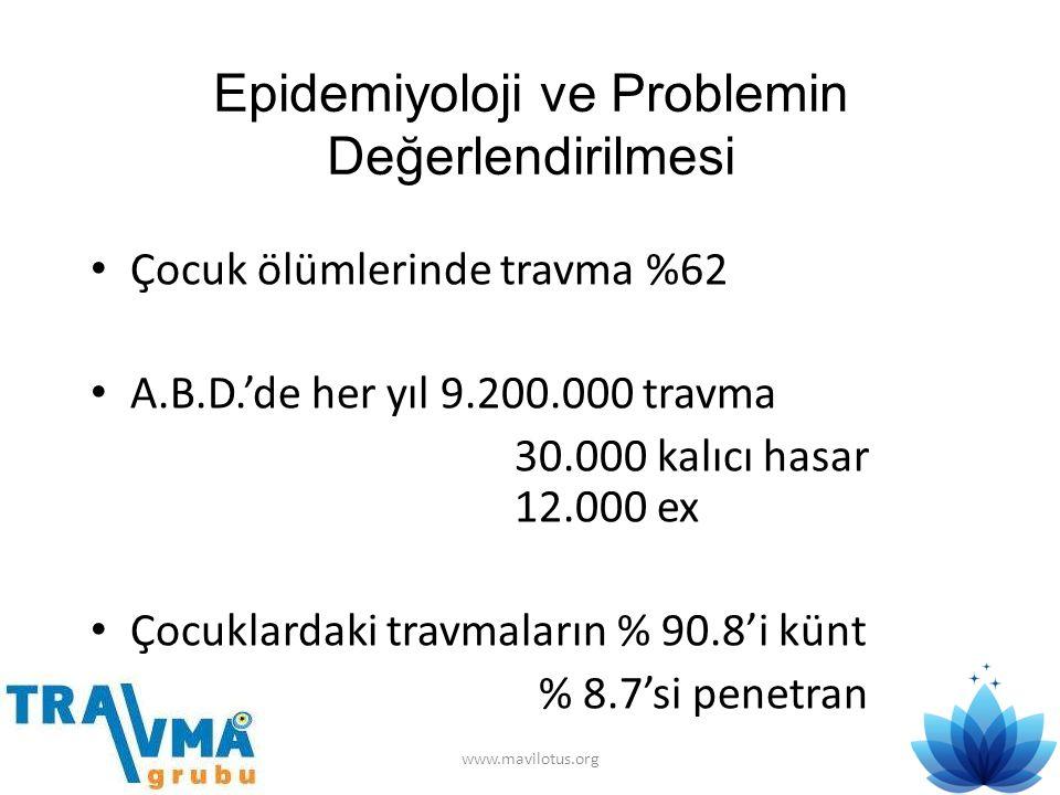 Epidemiyoloji ve Problemin Değerlendirilmesi • Çocuk ölümlerinde travma %62 • A.B.D.'de her yıl 9.200.000 travma 30.000 kalıcı hasar 12.000 ex • Çocuk