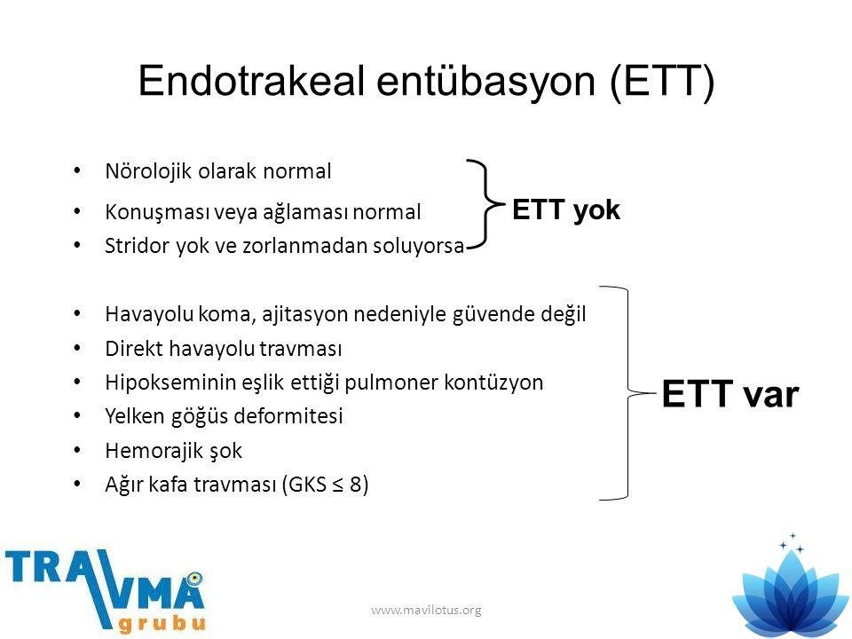 Endotrakeal entübasyon (ETT) • Nörolojik olarak normal • Konuşması veya ağlaması normal ETT yok • Stridor yok ve zorlanmadan soluyorsa • Havayolu koma