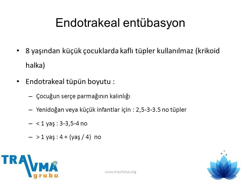 Endotrakeal entübasyon • 8 yaşından küçük çocuklarda kaflı tüpler kullanılmaz (krikoid halka) • Endotrakeal tüpün boyutu : – Çocuğun serçe parmağının