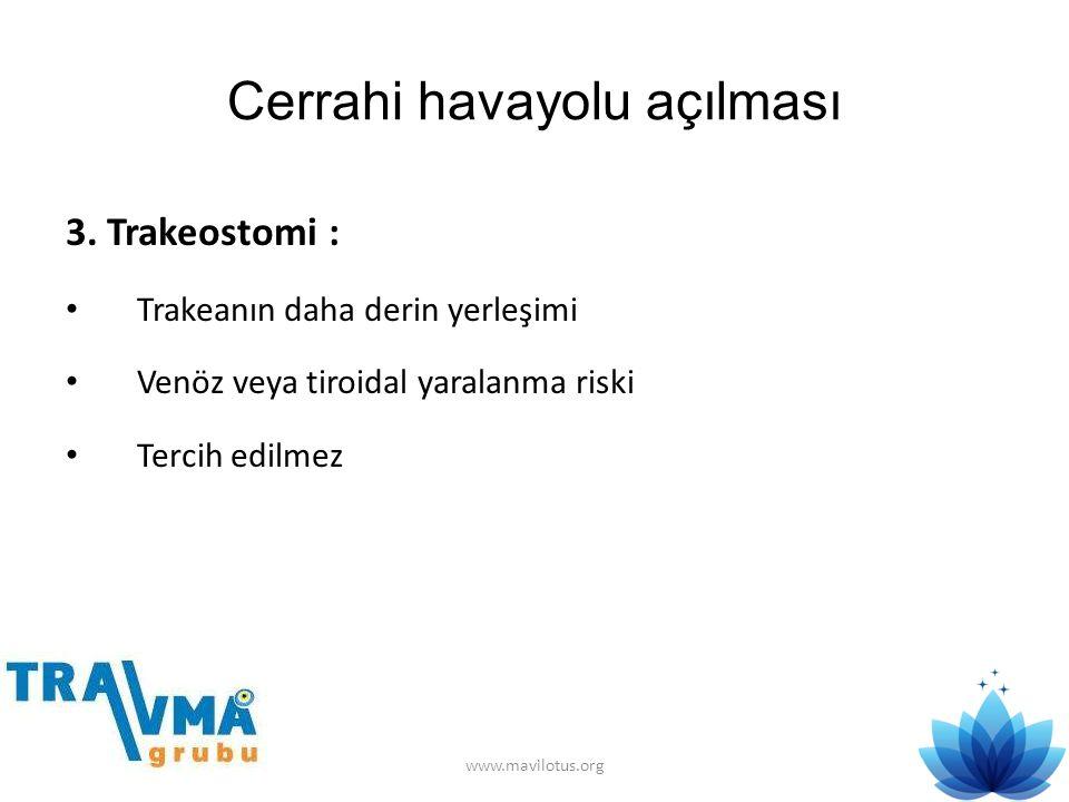 Cerrahi havayolu açılması 3. Trakeostomi : • Trakeanın daha derin yerleşimi • Venöz veya tiroidal yaralanma riski • Tercih edilmez www.mavilotus.org