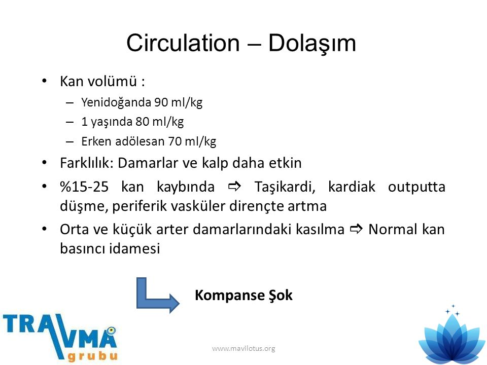 Circulation – Dolaşım • Kan volümü : – Yenidoğanda 90 ml/kg – 1 yaşında 80 ml/kg – Erken adölesan 70 ml/kg • Farklılık: Damarlar ve kalp daha etkin •