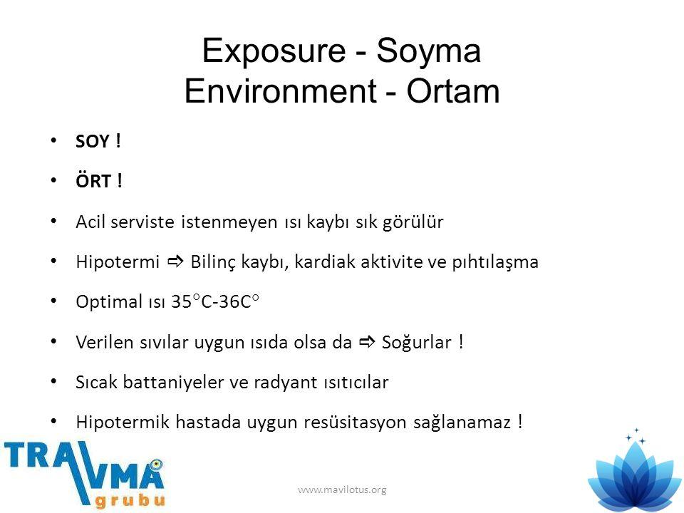 Exposure - Soyma Environment - Ortam • SOY ! • ÖRT ! • Acil serviste istenmeyen ısı kaybı sık görülür • Hipotermi  Bilinç kaybı, kardiak aktivite ve