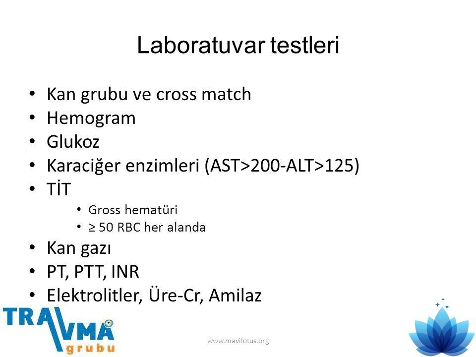 Laboratuvar testleri • Kan grubu ve cross match • Hemogram • Glukoz • Karaciğer enzimleri (AST>200-ALT>125) • TİT • Gross hematüri • ≥ 50 RBC her alan