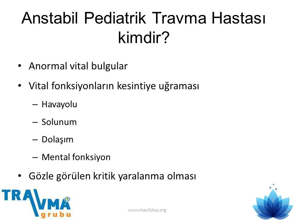 Kontrastlı Abdomen BT • Stabil bir çocukta endikasyonları : – Güvenilir bir fizik muayene ve hikaye ile visseral hasar şüphesi – Alert bir çocukta şüpheli bulgular – Muayene edilememesi (2-3 yaştan küçük, kafa travması vb) – Emniyet kemeri işareti – Açıklanamayan kan kaybı/sıvı ihtiyacı – AST > 200 veya ALT > 125 olması – Asemptomatik hastada gros hematüri veya 50 RBC/HPF olması – Hct düşmesi veya <30 olması www.mavilotus.org