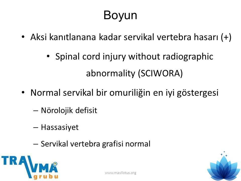 Boyun • Aksi kanıtlanana kadar servikal vertebra hasarı (+) • Spinal cord injury without radiographic abnormality (SCIWORA) • Normal servikal bir omur