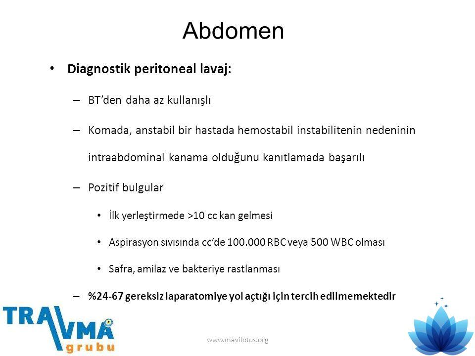Abdomen • Diagnostik peritoneal lavaj: – BT'den daha az kullanışlı – Komada, anstabil bir hastada hemostabil instabilitenin nedeninin intraabdominal k