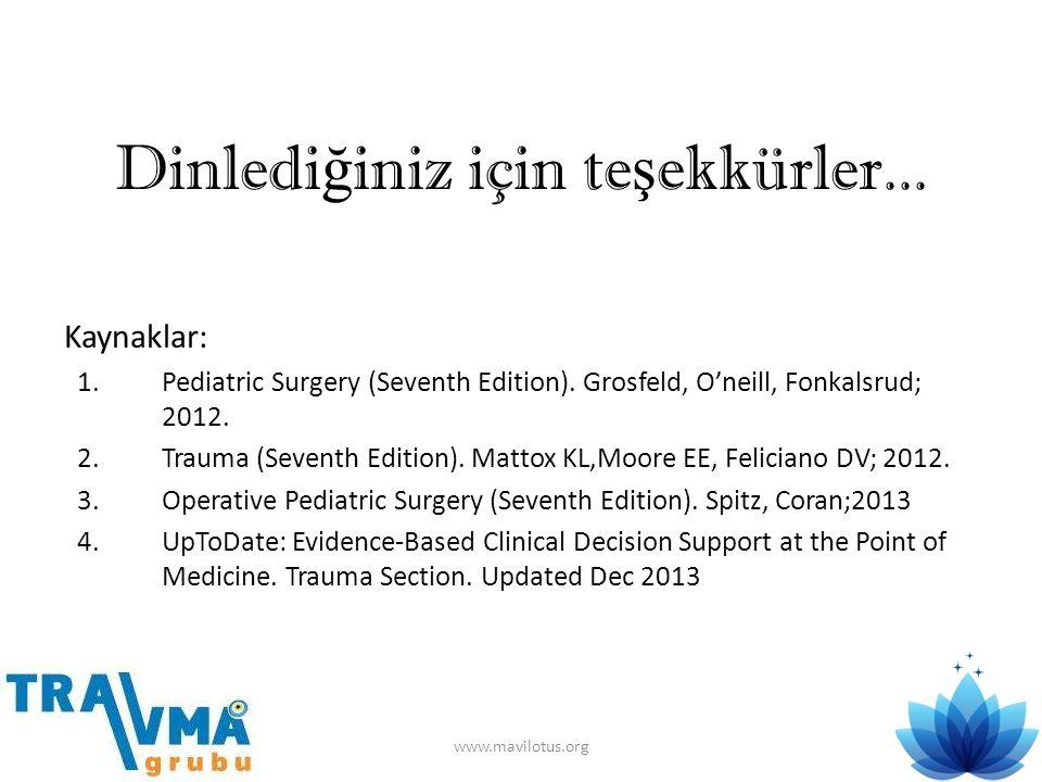 Dinledi ğ iniz için te ş ekkürler... Kaynaklar: 1.Pediatric Surgery (Seventh Edition). Grosfeld, O'neill, Fonkalsrud; 2012. 2.Trauma (Seventh Edition)