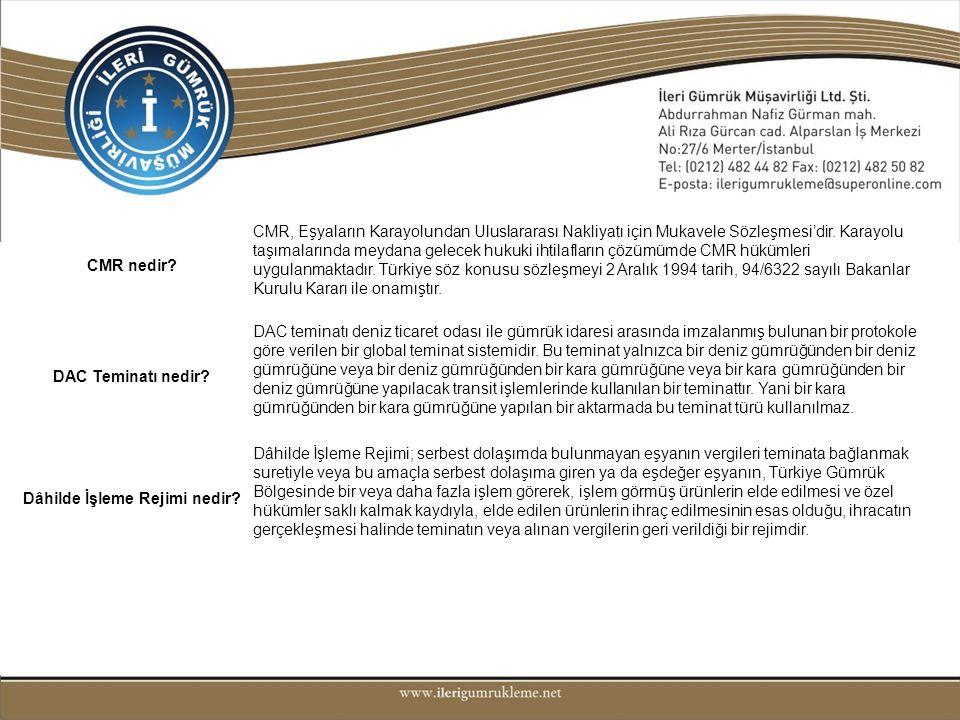 CMR nedir? CMR, Eşyaların Karayolundan Uluslararası Nakliyatı için Mukavele Sözleşmesi'dir. Karayolu taşımalarında meydana gelecek hukuki ihtilafların