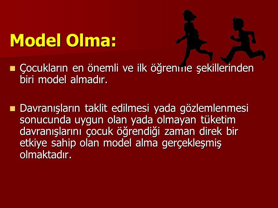Model Olma:  Çocukların en önemli ve ilk öğrenme şekillerinden biri model almadır.