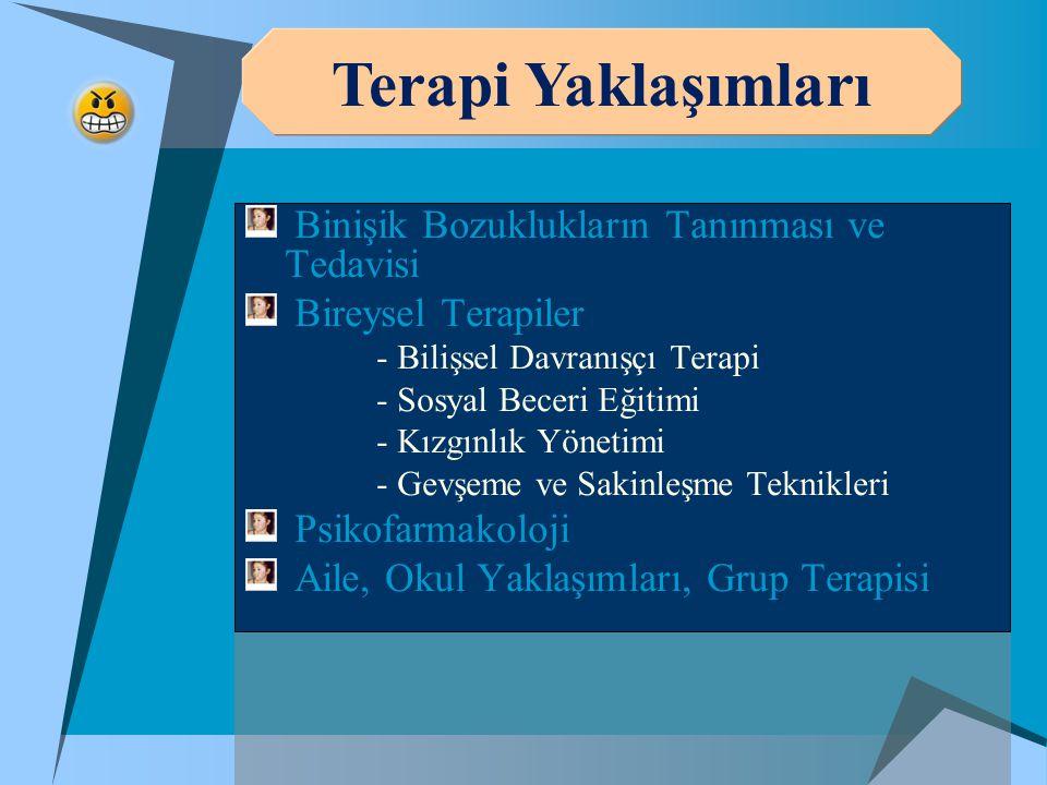 Binişik Bozuklukların Tanınması ve Tedavisi Bireysel Terapiler - Bilişsel Davranışçı Terapi - Sosyal Beceri Eğitimi - Kızgınlık Yönetimi - Gevşeme ve Sakinleşme Teknikleri Psikofarmakoloji Aile, Okul Yaklaşımları, Grup Terapisi Terapi Yaklaşımları
