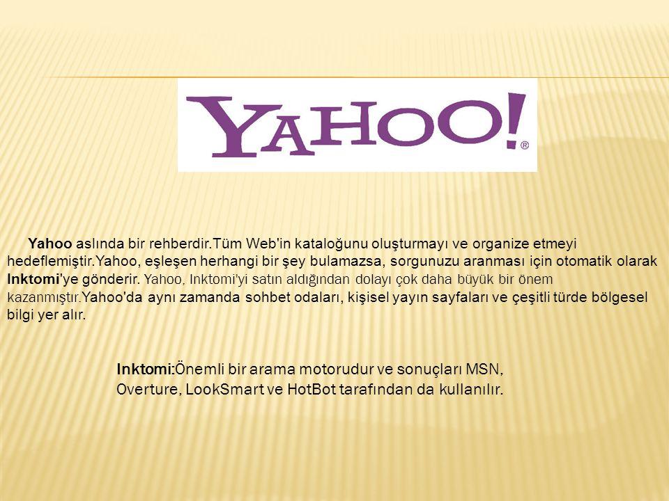 Yahoo aslında bir rehberdir.Tüm Web'in kataloğunu oluşturmayı ve organize etmeyi hedeflemiştir.Yahoo, eşleşen herhangi bir şey bulamazsa, sorgunuzu ar
