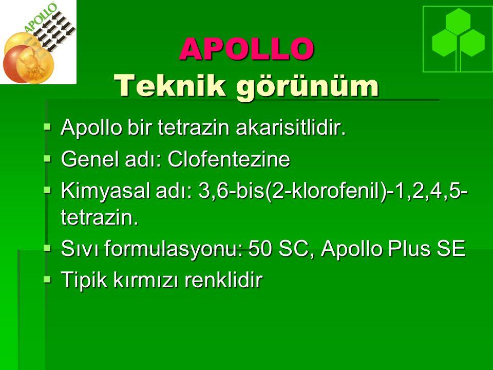 APOLLO Teknik görünüm  Apollo bir tetrazin akarisitlidir.  Genel adı: Clofentezine  Kimyasal adı: 3,6-bis(2-klorofenil)-1,2,4,5- tetrazin.  Sıvı f