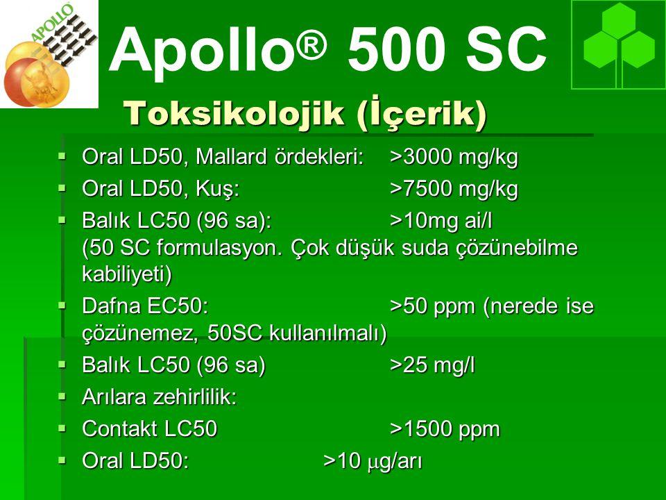 Toksikolojik (İçerik)  Oral LD50, Mallard ördekleri:>3000 mg/kg  Oral LD50, Kuş:>7500 mg/kg  Balık LC50 (96 sa):>10mg ai/l (50 SC formulasyon.