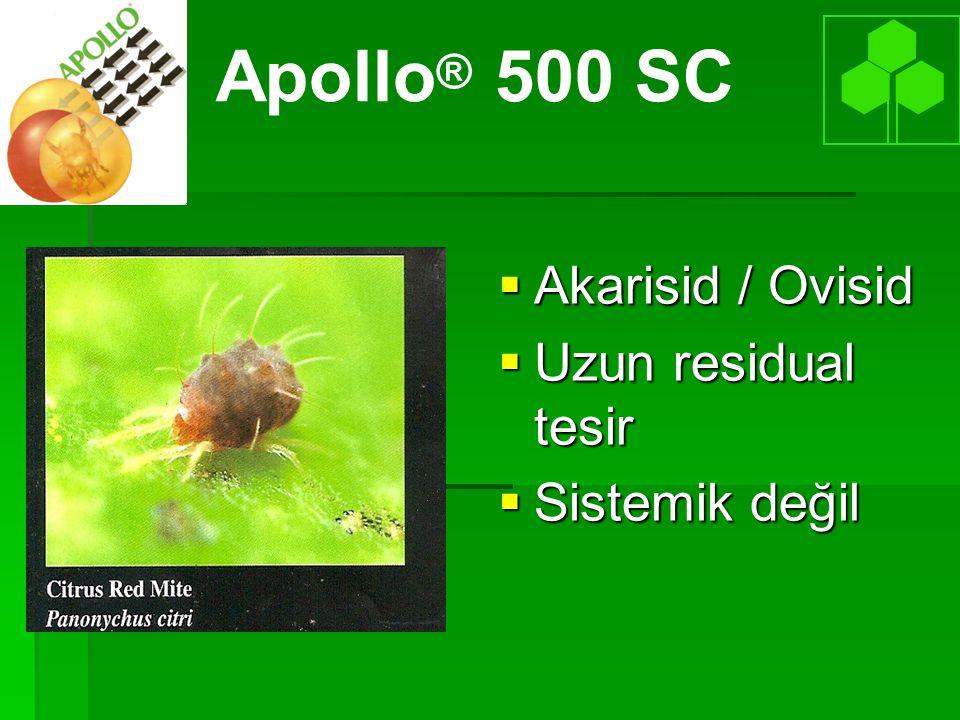  Etki Mekanizması: Nefes almayı inhibe eder ve yumurtaların gelişmesine mani olur Apollo ® 500 SC