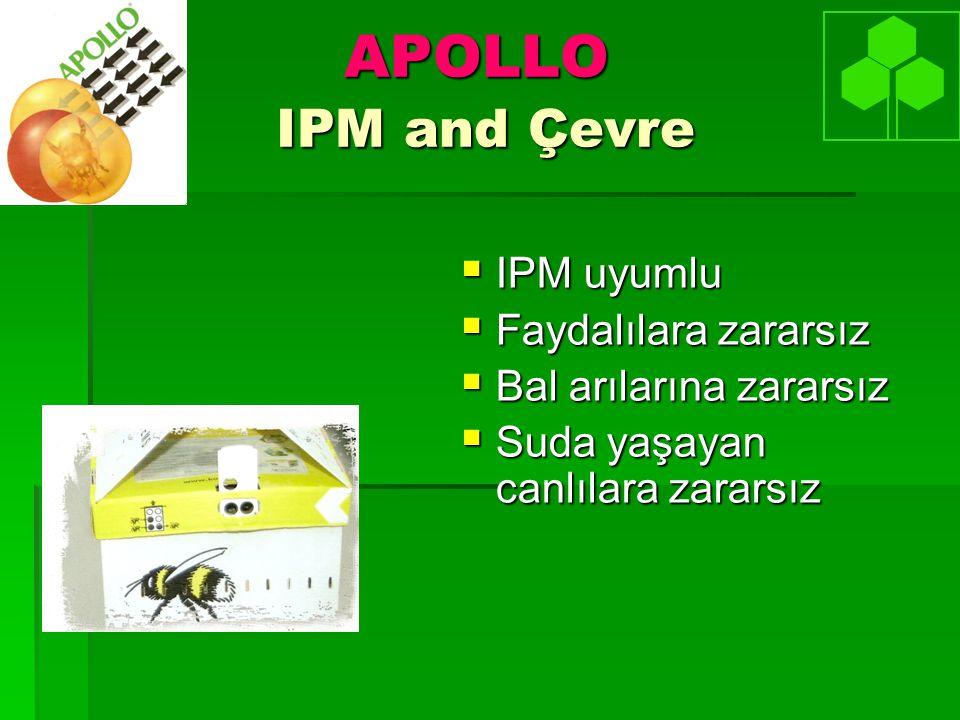APOLLO IPM and Çevre  IPM uyumlu  Faydalılara zararsız  Bal arılarına zararsız  Suda yaşayan canlılara zararsız