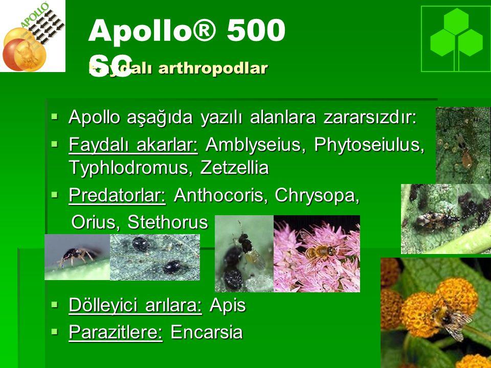 Faydalı arthropodlar  Apollo aşağıda yazılı alanlara zararsızdır:  Faydalı akarlar: Amblyseius, Phytoseiulus, Typhlodromus, Zetzellia  Predatorlar: Anthocoris, Chrysopa, Orius, Stethorus Orius, Stethorus  Dölleyici arılara: Apis  Parazitlere: Encarsia Apollo® 500 SC