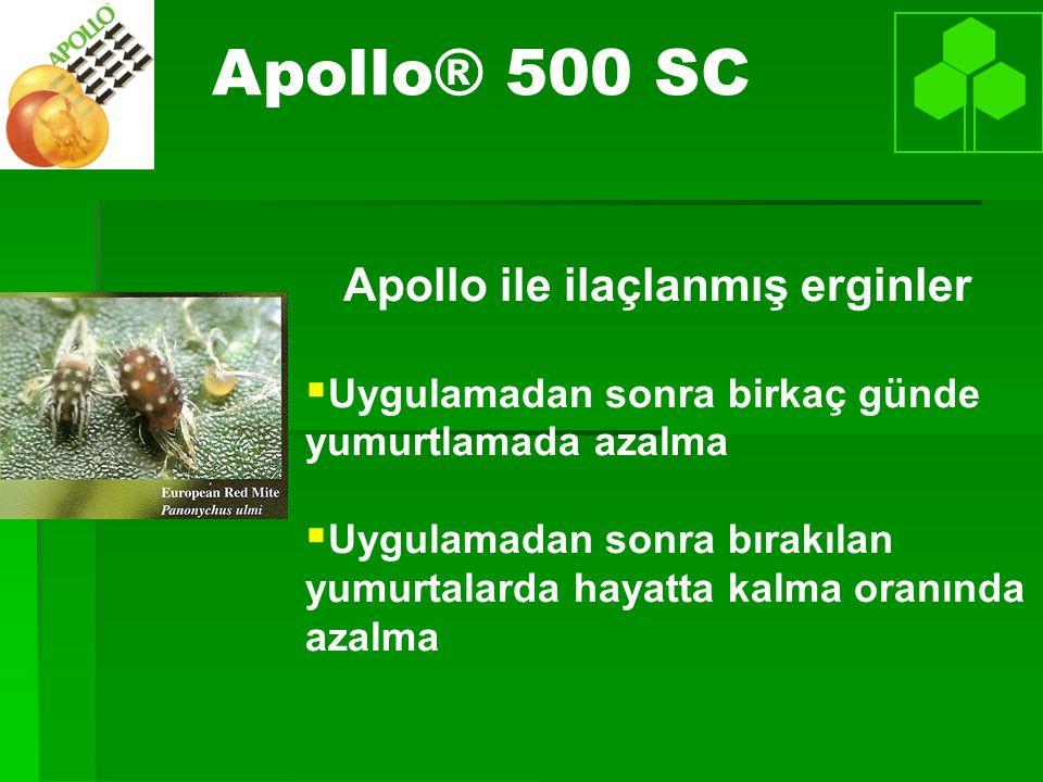 Apollo ile ilaçlanmış erginler   Uygulamadan sonra birkaç günde yumurtlamada azalma   Uygulamadan sonra bırakılan yumurtalarda hayatta kalma oranında azalma Apollo® 500 SC
