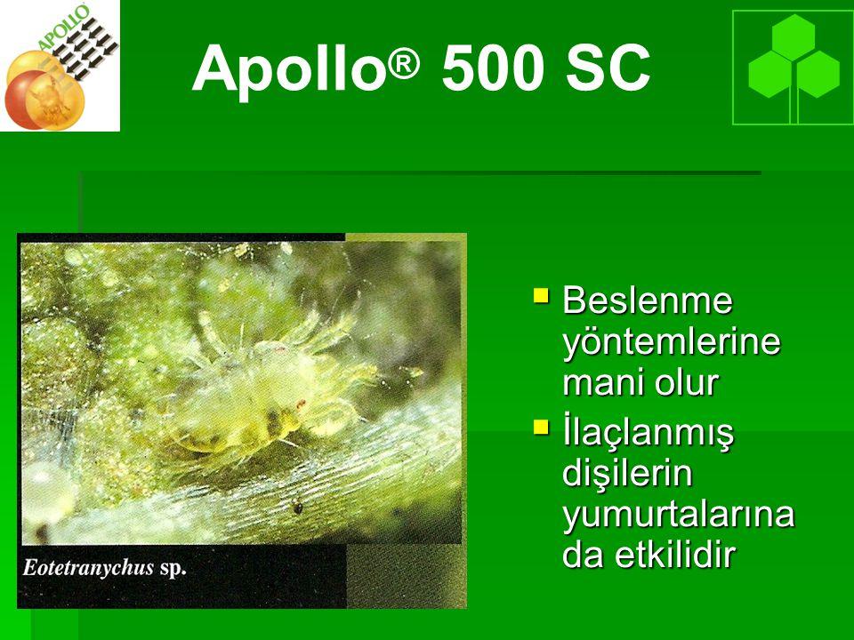   Apollo yumurtalara çok zehirlidir Cinslere göre değişkendir   Larva ve protonimf üzerinde sınırlı etki, Apollo® 500 SC
