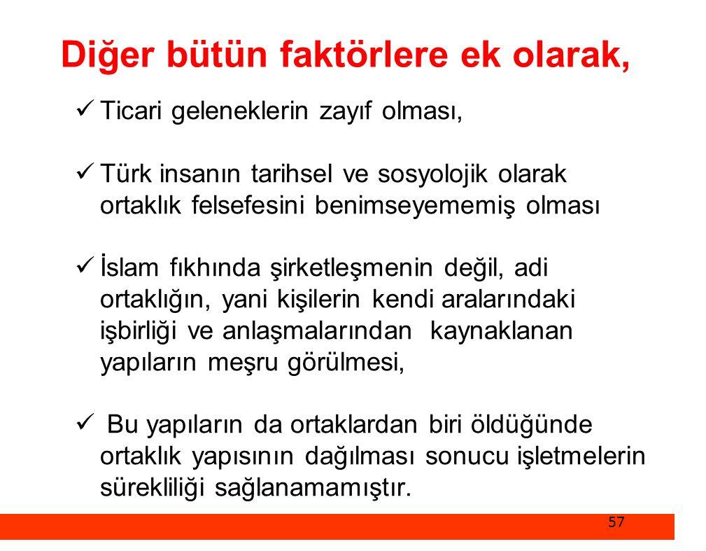 Diğer bütün faktörlere ek olarak,  Ticari geleneklerin zayıf olması,  Türk insanın tarihsel ve sosyolojik olarak ortaklık felsefesini benimseyememiş