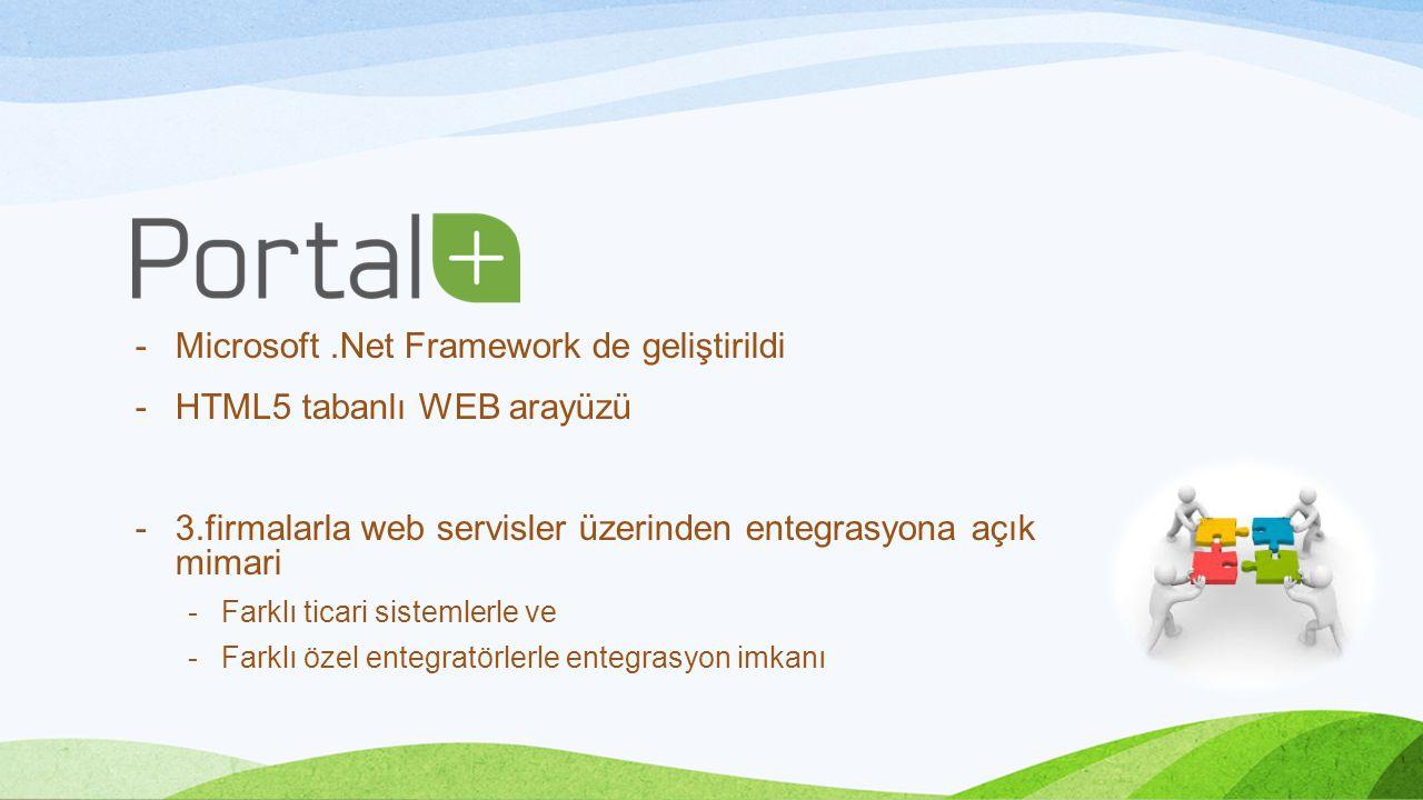 -Microsoft.Net Framework de geliştirildi -HTML5 tabanlı WEB arayüzü -3.firmalarla web servisler üzerinden entegrasyona açık mimari -Farklı ticari sistemlerle ve -Farklı özel entegratörlerle entegrasyon imkanı