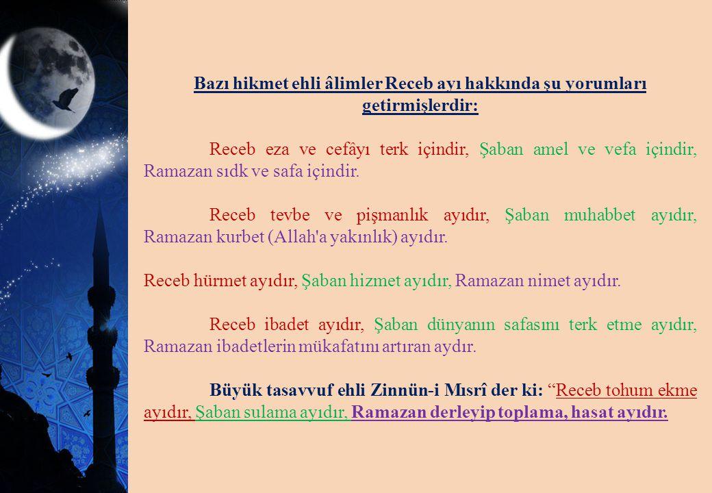 Bazı hikmet ehli âlimler Receb ayı hakkında şu yorumları getirmişlerdir: Receb eza ve cefâyı terk içindir, Şaban amel ve vefa içindir, Ramazan sıdk ve