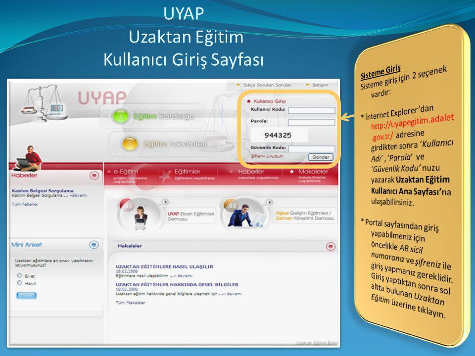 UYAP Uzaktan Eğitim Kullanıcı Giriş Sayfası