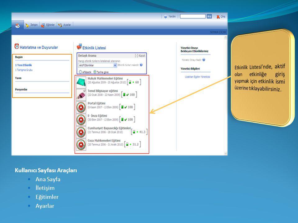 Kullanıcı Sayfası Araçları  Ana Sayfa  İletişim  Eğitimler  Ayarlar