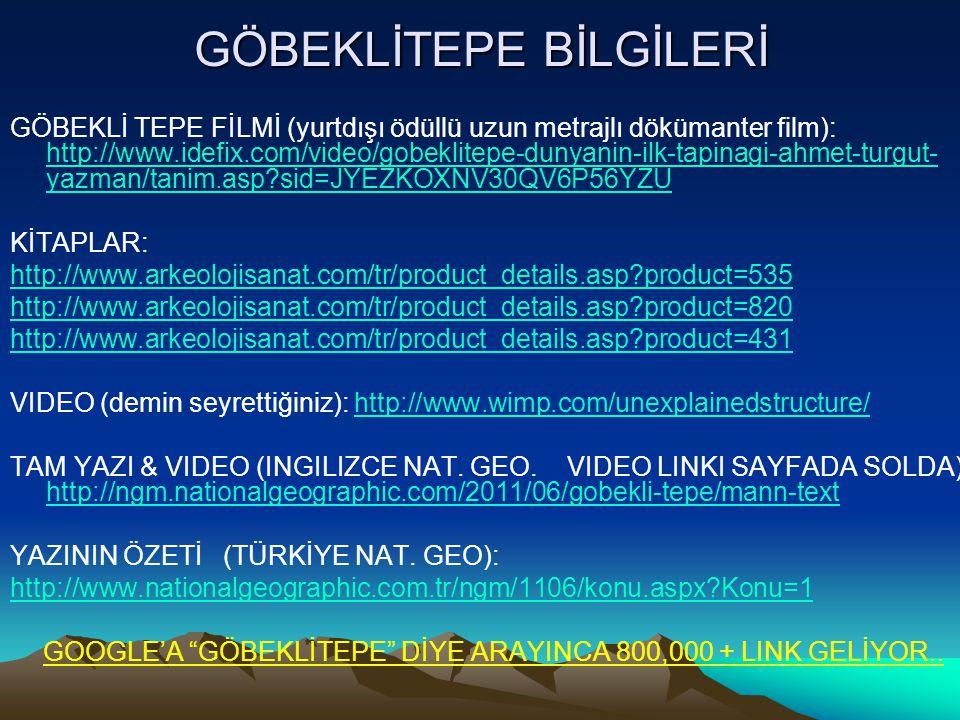 GÖBEKLİTEPE BİLGİLERİ GÖBEKLİ TEPE FİLMİ (yurtdışı ödüllü uzun metrajlı dökümanter film): http://www.idefix.com/video/gobeklitepe-dunyanin-ilk-tapinag