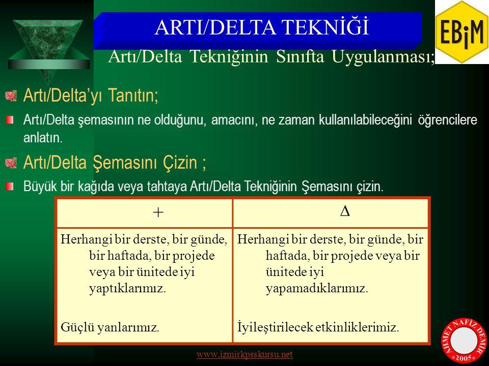 ARTI/DELTA TEKNİĞİ Artı/Delta'yı Tanıtın; Artı/Delta şemasının ne olduğunu, amacını, ne zaman kullanılabileceğini öğrencilere anlatın. Artı/Delta Şema