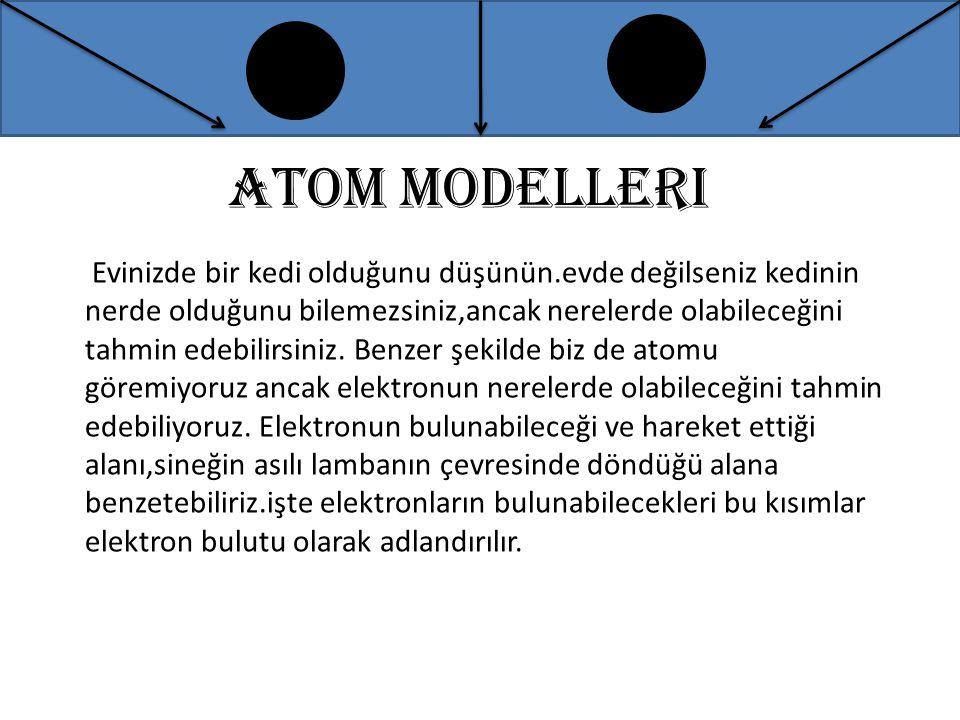 Atom modelleri Evinizde bir kedi olduğunu düşünün.evde değilseniz kedinin nerde olduğunu bilemezsiniz,ancak nerelerde olabileceğini tahmin edebilirsin