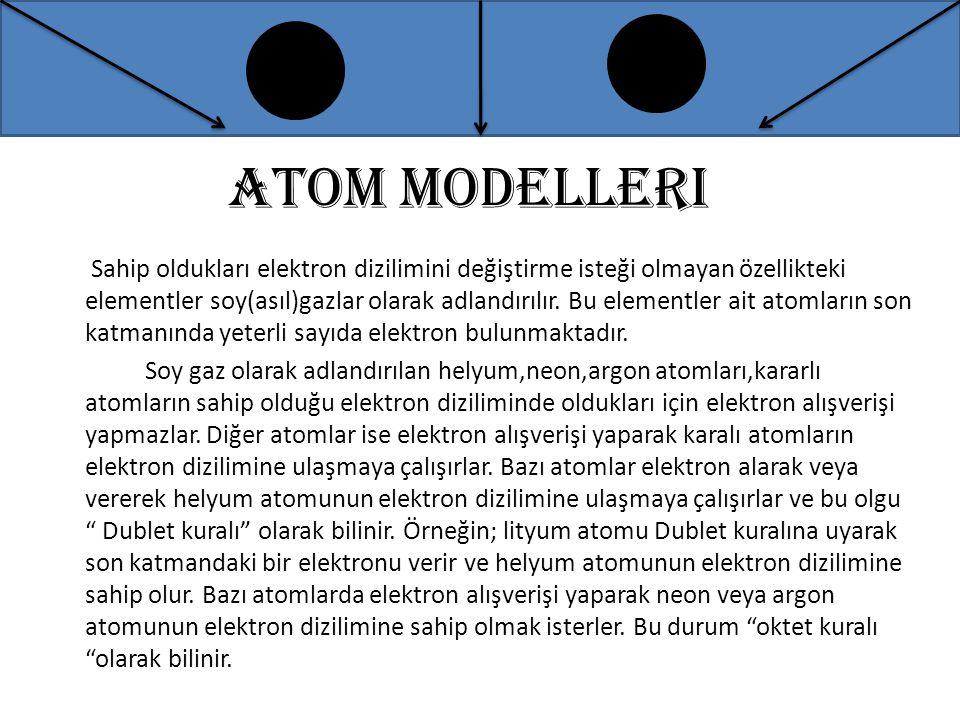 Atom modelleri Sahip oldukları elektron dizilimini değiştirme isteği olmayan özellikteki elementler soy(asıl)gazlar olarak adlandırılır. Bu elementler