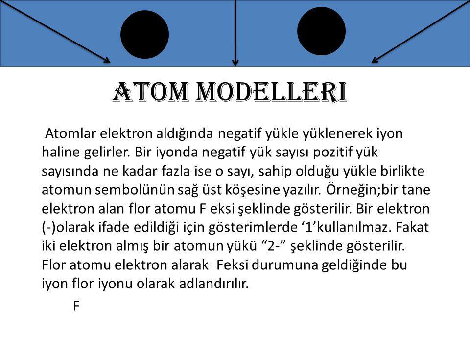 Atom modelleri Atomlar elektron aldığında negatif yükle yüklenerek iyon haline gelirler. Bir iyonda negatif yük sayısı pozitif yük sayısında ne kadar